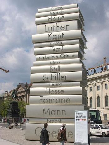 "This staute, found in Berlin and created by Scholz & Friends, is called the ""Walk of Ideas."" I love that its made of books. (Source: Wikipedia Commons, Public Domain)"